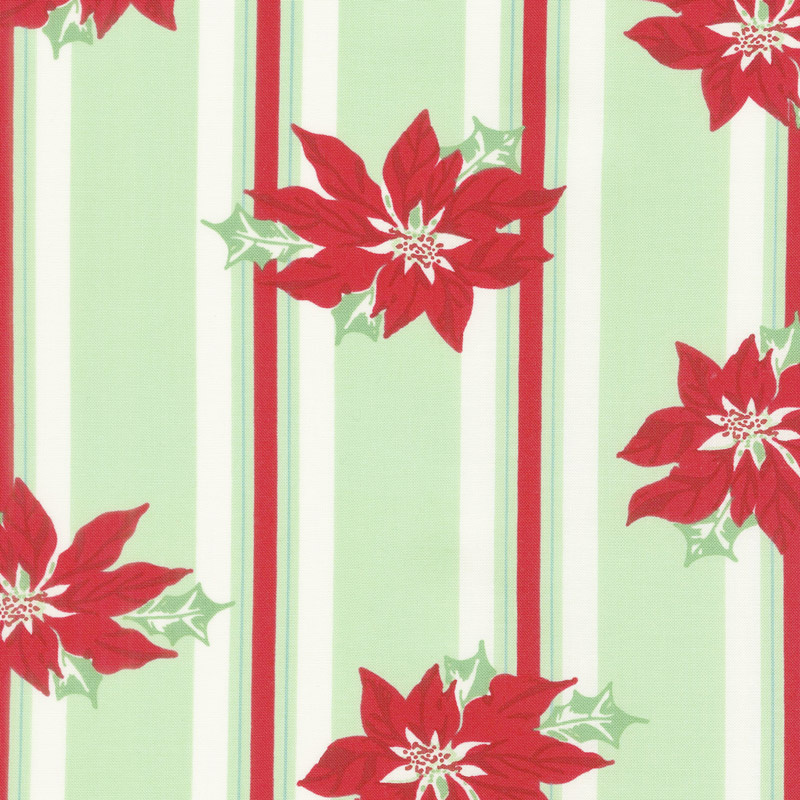 Sweet Christmas - Poinsettia Stripe Spearmint Yardage