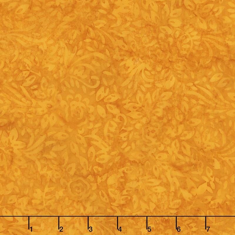 Golden State Batiks - Roses and Leaves Orange Yardage