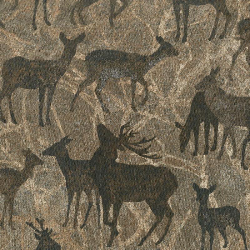 Stonehenge Deerhurst - Large Deer on Branches Slate Yardage