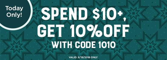 Spend $10 get 10% off