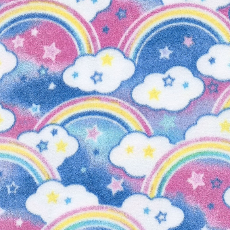 Winterfleece Prints Children - Rainbows Pink Fleece Yardage