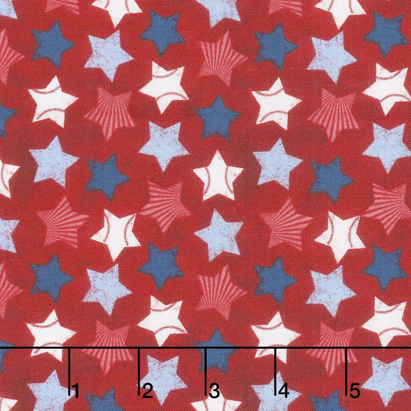 7th Inning Stretch - Stars Allover Red Yardage