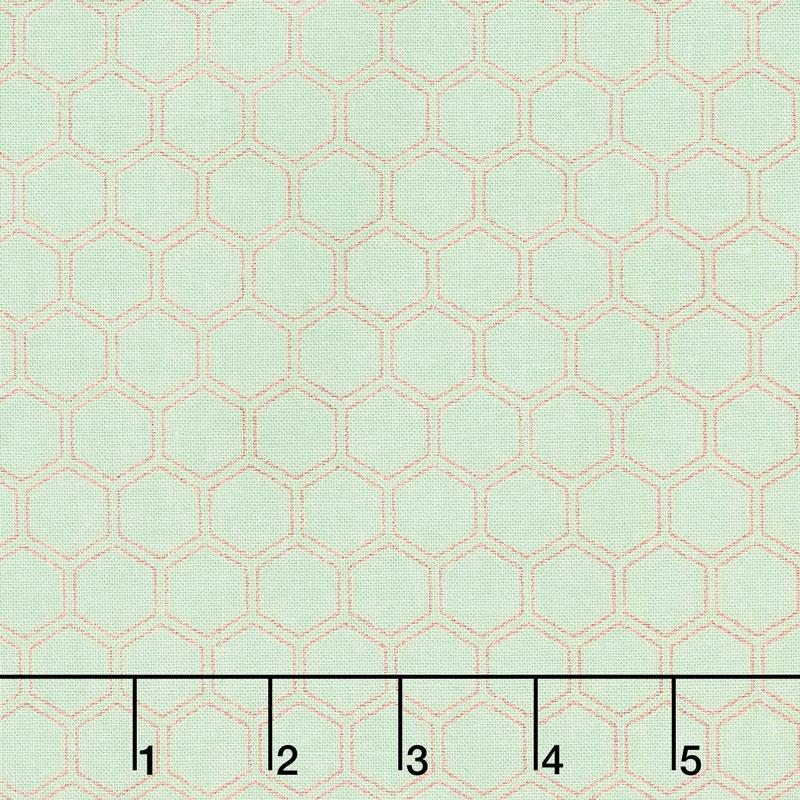 Bliss - Honeycomb Mint with Rose Gold Sparkle Yardage