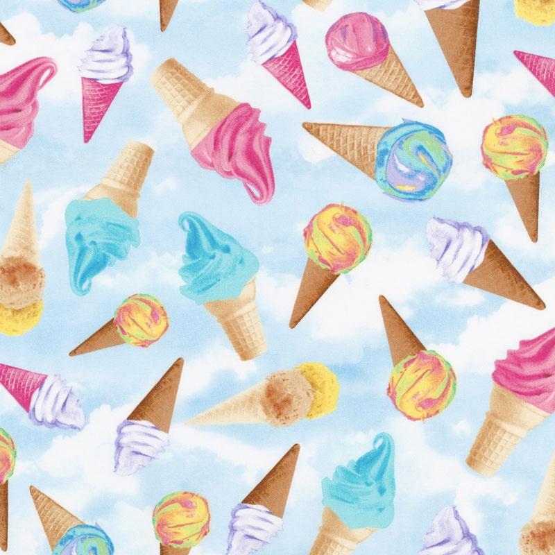 Novelty - Tossed Ice Cream Cones Sky Yardage