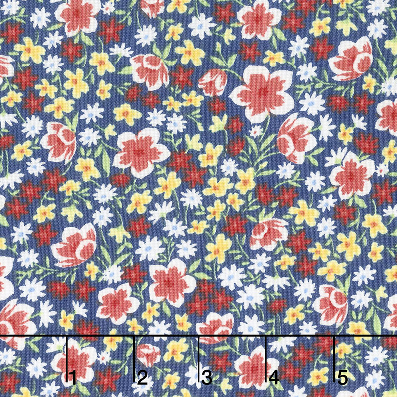 Fleurette - Mixed Floral Navy Yardage