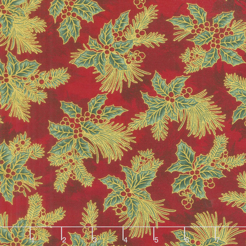 Holiday Flourish 12 - Boughs Red Metallic Yardage
