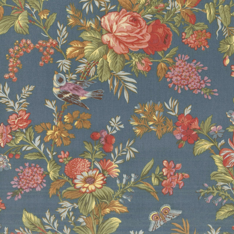 Bed of Roses - Teal Yardage