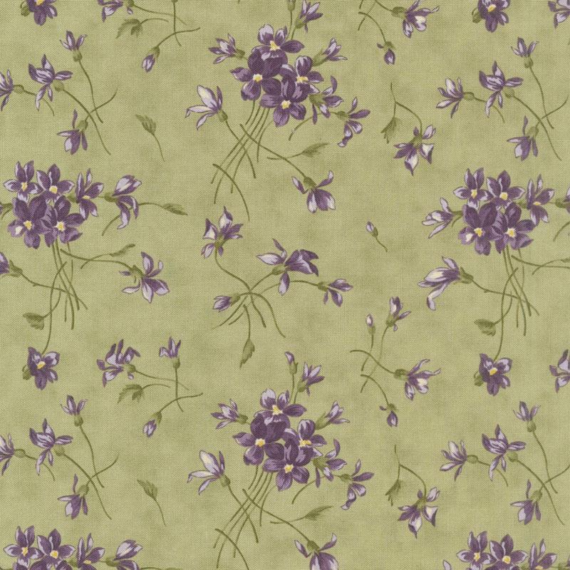 Sweet Violet - Violet Spray Leaf Yardage