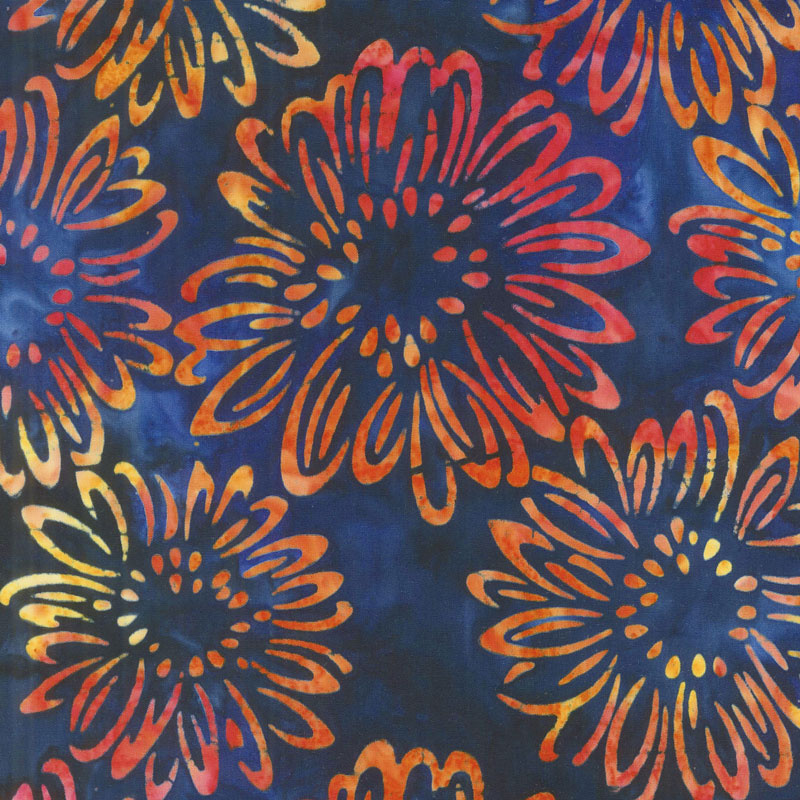 Artisan Batiks - Bright Blooms Flowers Midnight Yardage