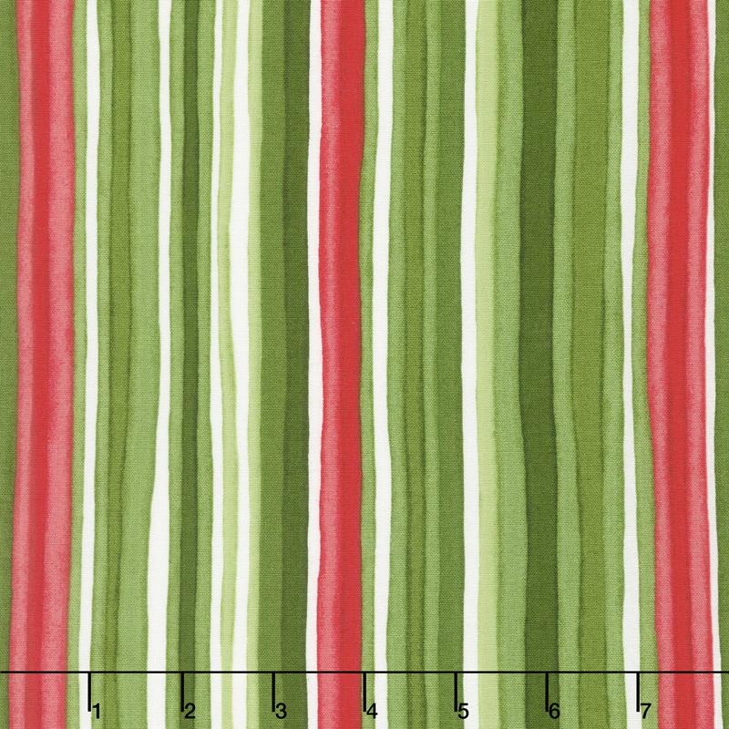 Chloe - Watercolor Stripe Green Yardage