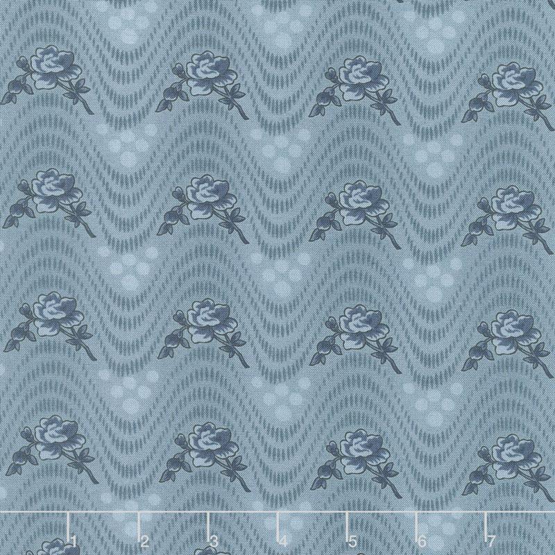 Northport Prints - Wavy Floral Blue Yardage