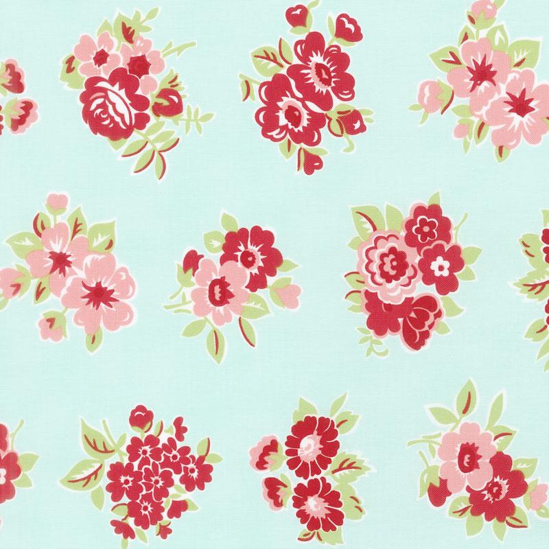 Little Snippets - Marmalade Floral Aqua Yardage