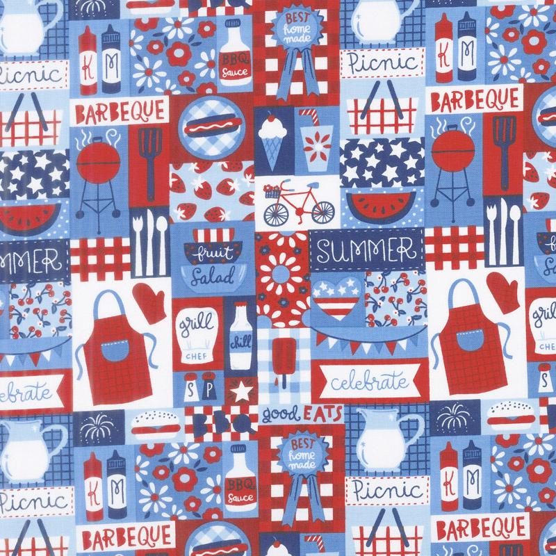 Patriotic Parade - Patch Blue Red Yardage