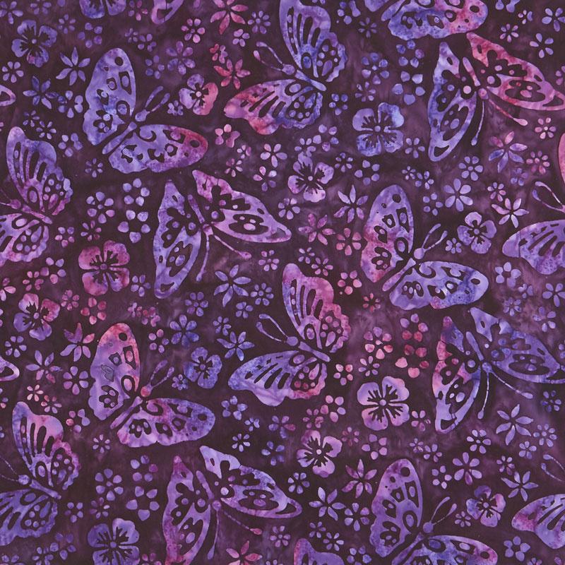 Artisan Batiks - Butterfly Blooms Butterflies Purple Yardage