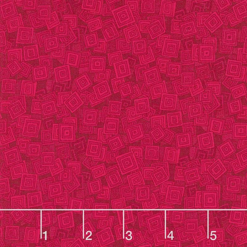 Hopscotch - Overlapping Squares Wild Strawberry Yardage