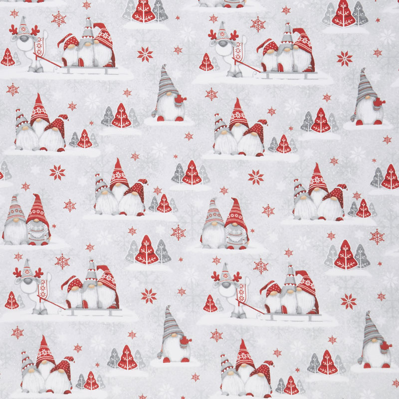 Winter Whimsy - Groups of Gnomes Gray Red Flannel Yardage