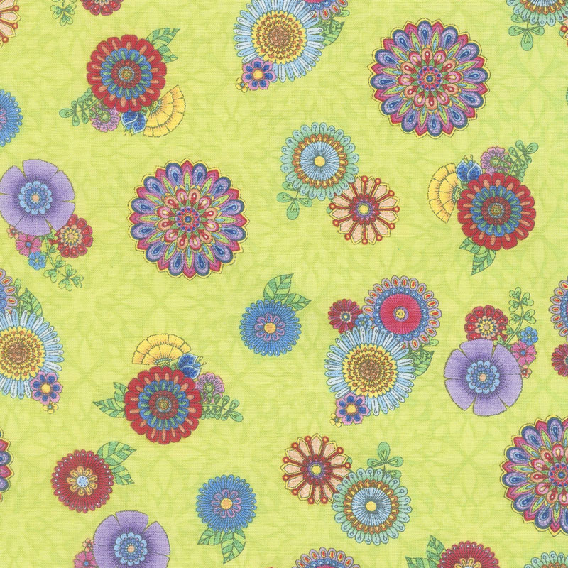 Safari, So Goodie - Tossed Flowers Lime Yardage