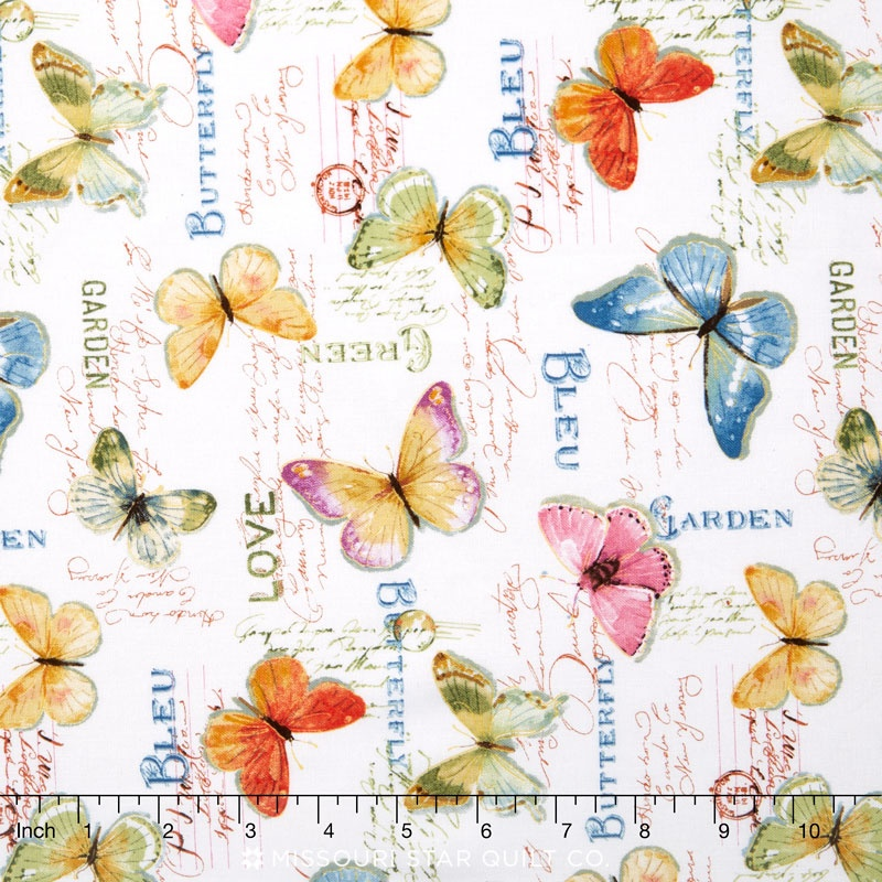 Rainbow Seeds - Butterflies White Yardage