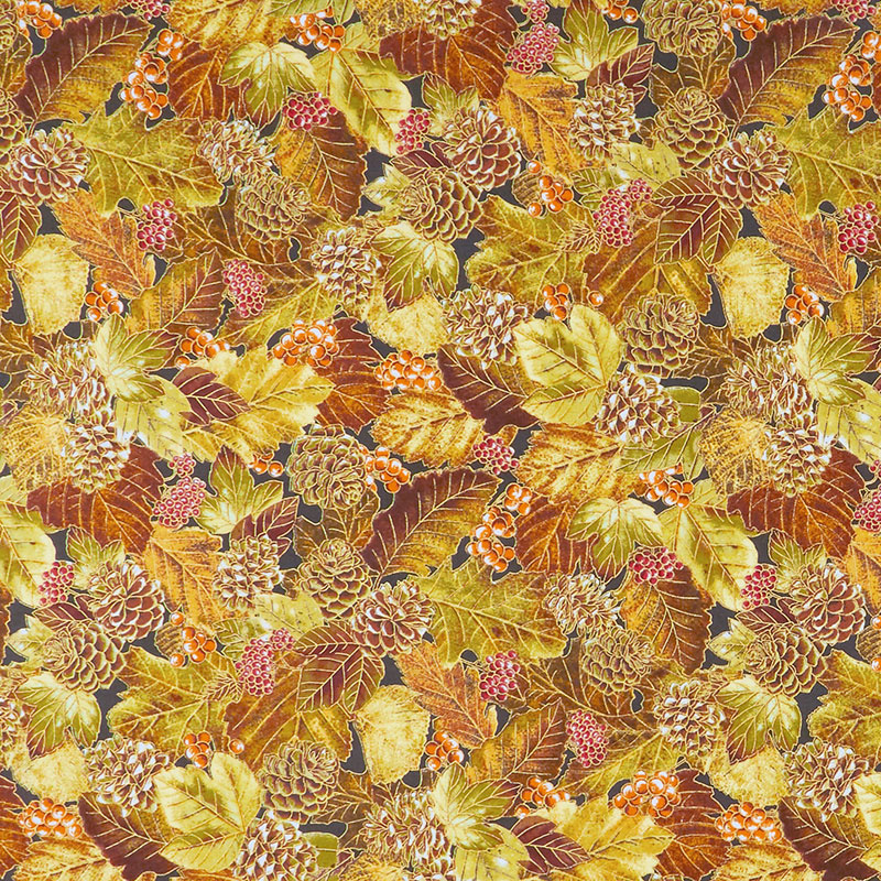 Autumn Beauties - Leaves Pine Cones Autumn Metallic Yardage