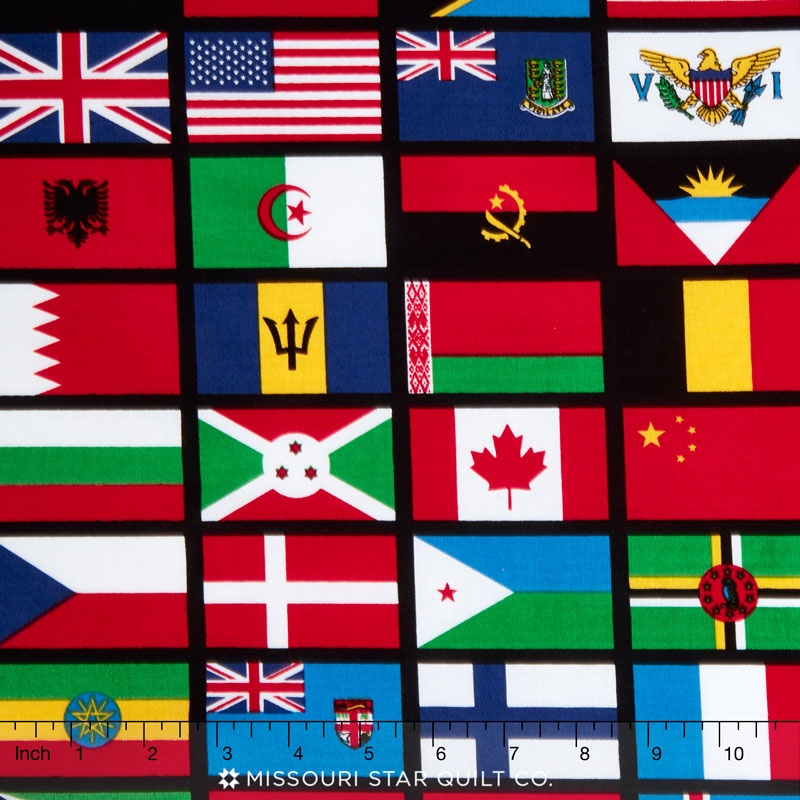 Our World - World Flag Black Yardage