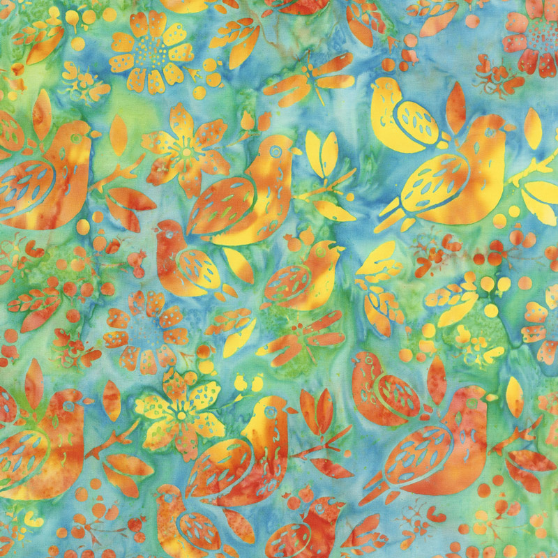 Summer Sizzle Batiks - Mixed Birds Cool Waters Yardage