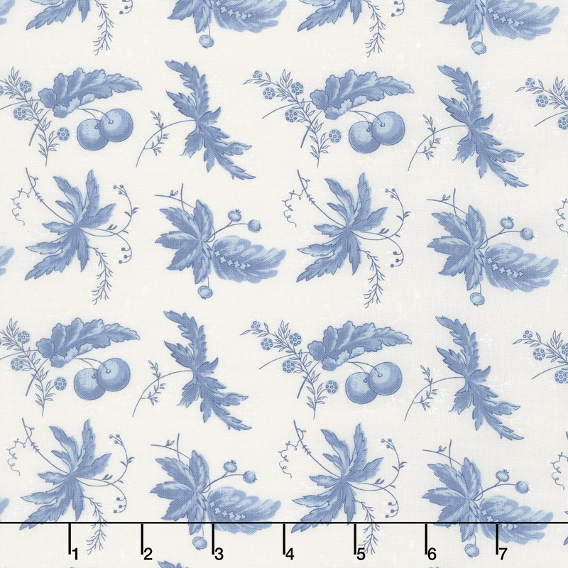 Regency Ballycastle Chintz 18th Century - Ballybofey Off White English Blue Yardage