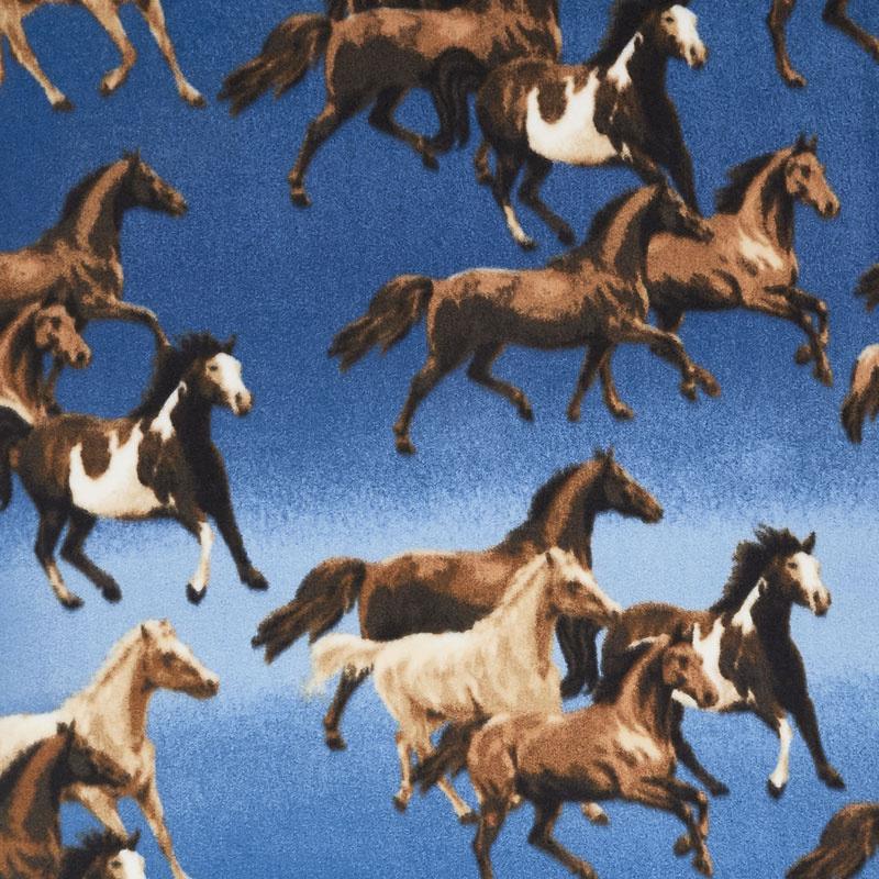 Winterfleece Prints Animals - Ombre Horses Blue Fleece Yardage