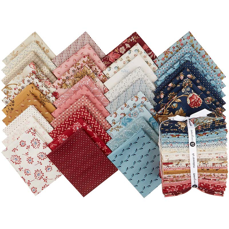 A bundle of 6 fat eighth fabrics in creams and pinks