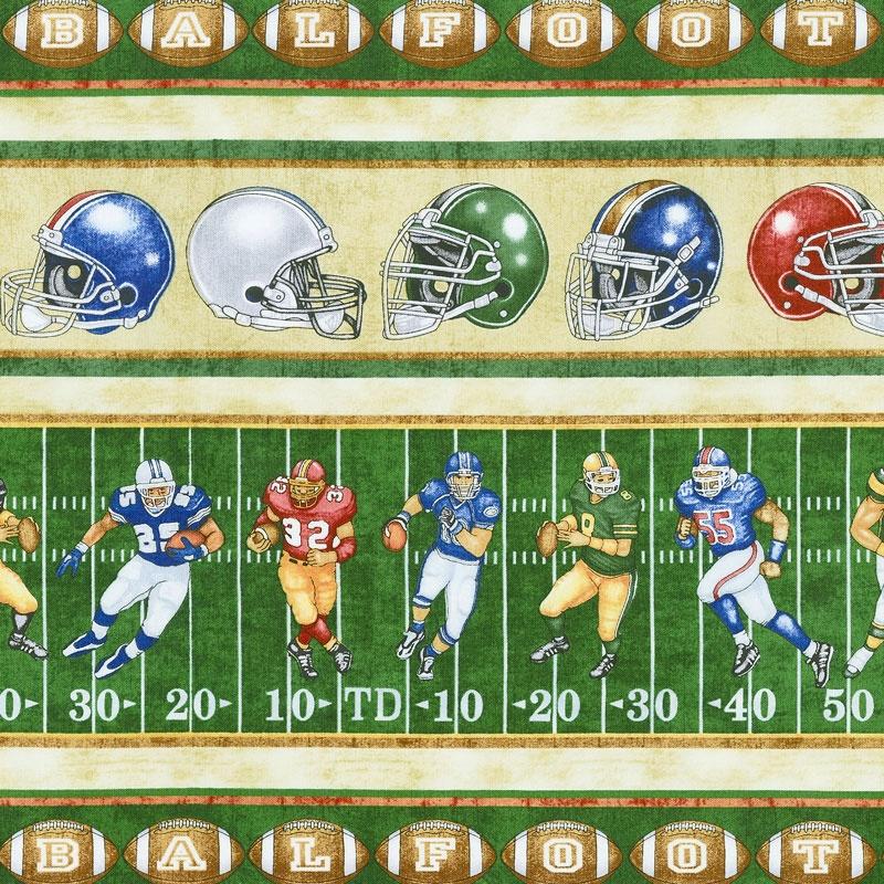 Gridiron Football Decorative Stripe Green Yardage Dan Morris