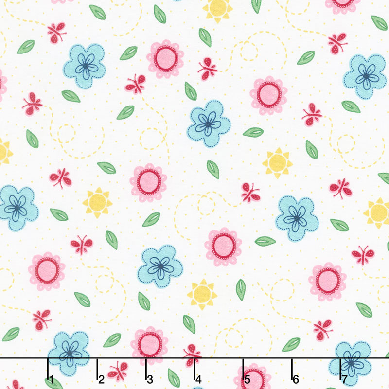 Flutter and Shine - Small Floral White Yardage