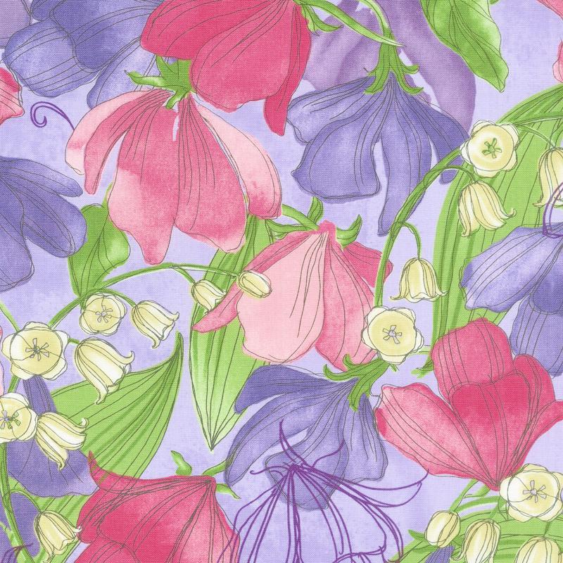 Sweet Pea & Lily - Sweet Peas Lavender Yardage