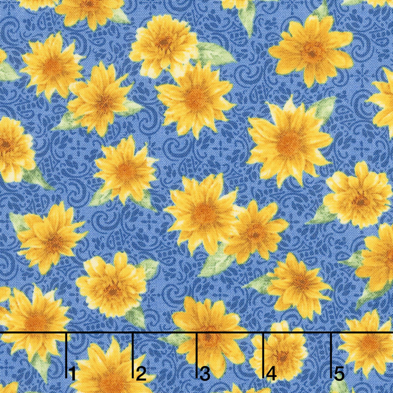 Gardenside Path - Tossed Sunflower Blue Yardage