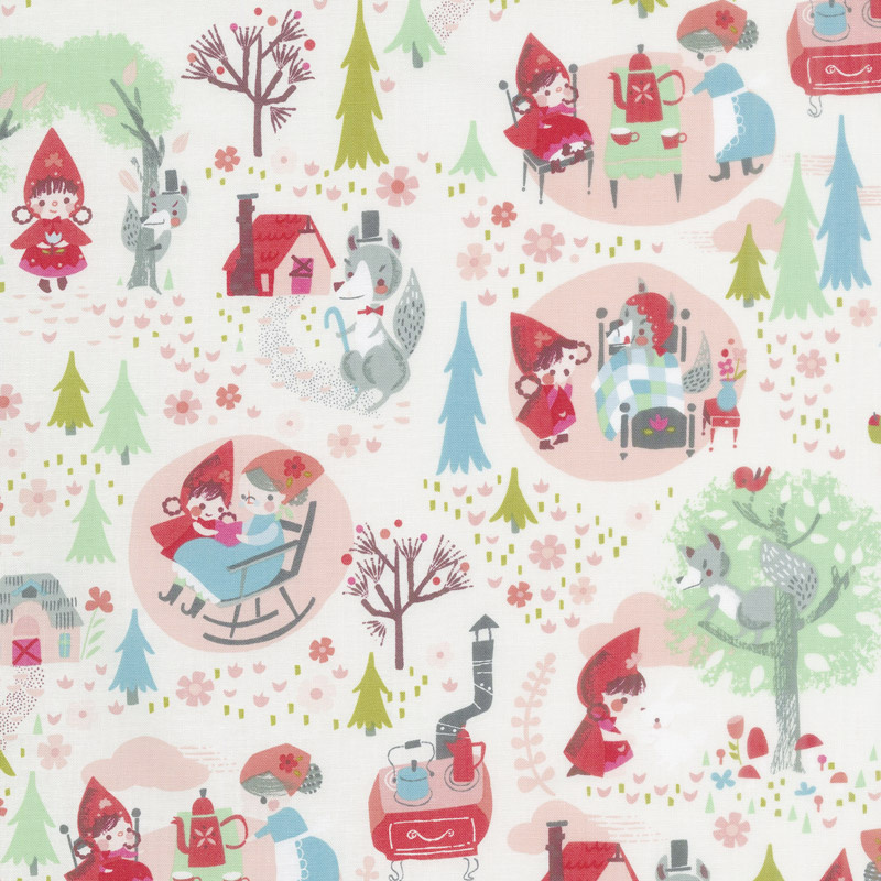 Little Red in the Woods - Main Cream Yardage
