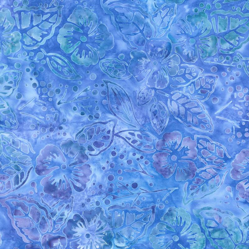 Artisan Batiks - Butterfly Blooms Flowers Blue Yardage