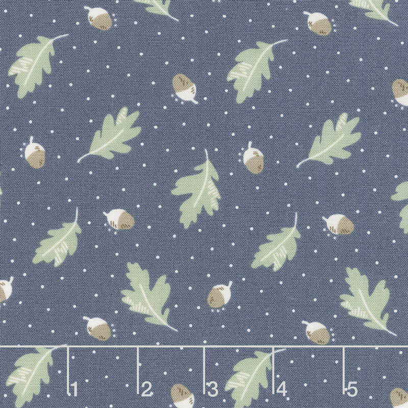 Harvest Road - Floating Acorn Indigo Yardage