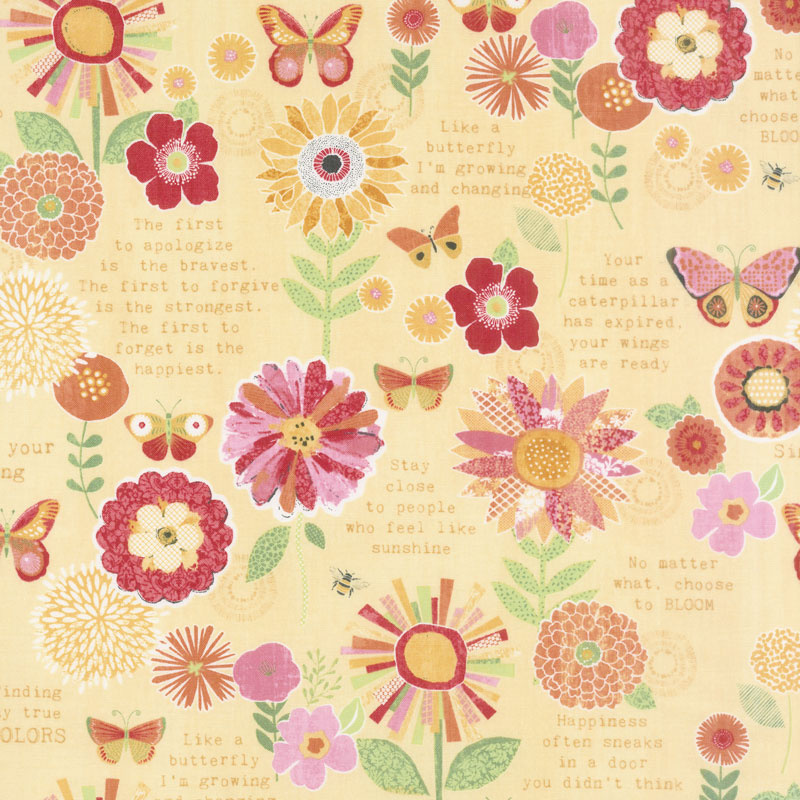 Sing Your Song Flowers And Sentiments Yellow Yardage Anne Rowan
