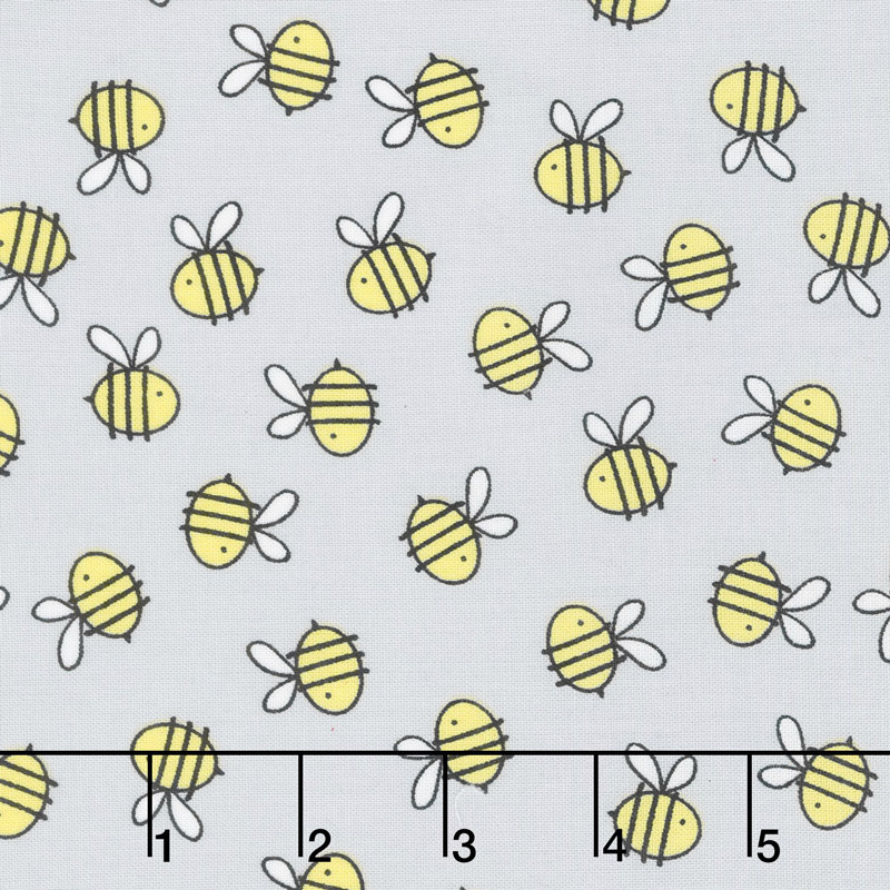 Little Sunshine - Bees Allover Gray Yardage