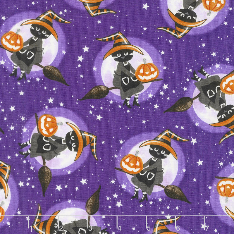 So Adora-Boo! - Witches Purple Glow in the Dark Yardage