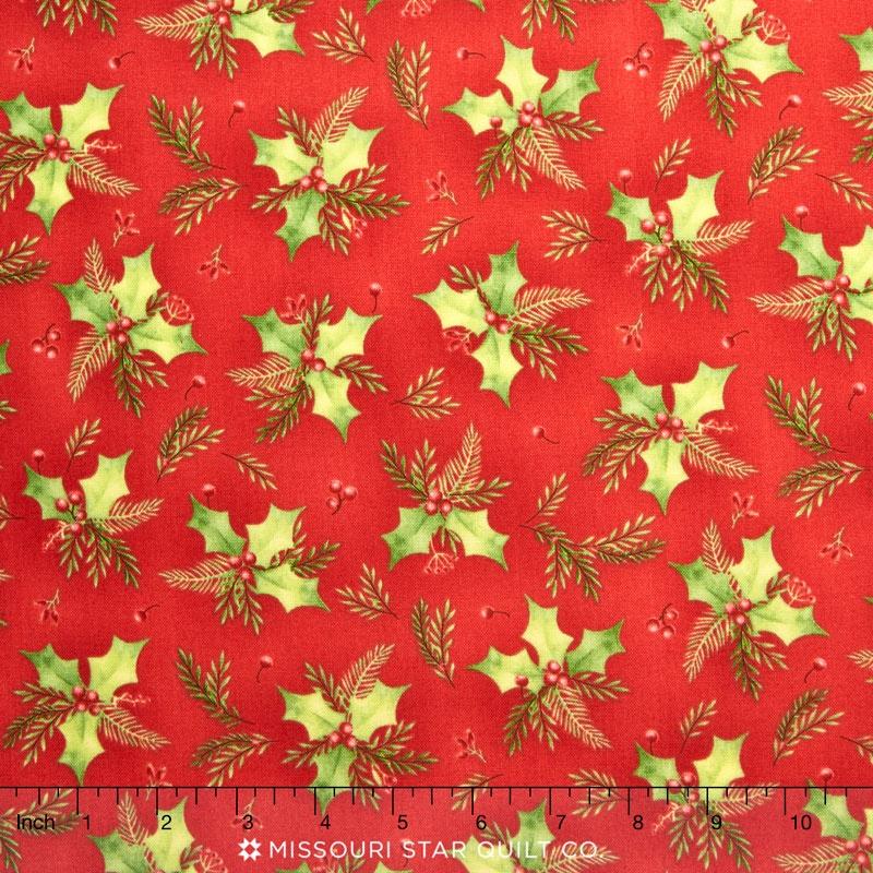 Songbird Christmas - Holly Red Yardage