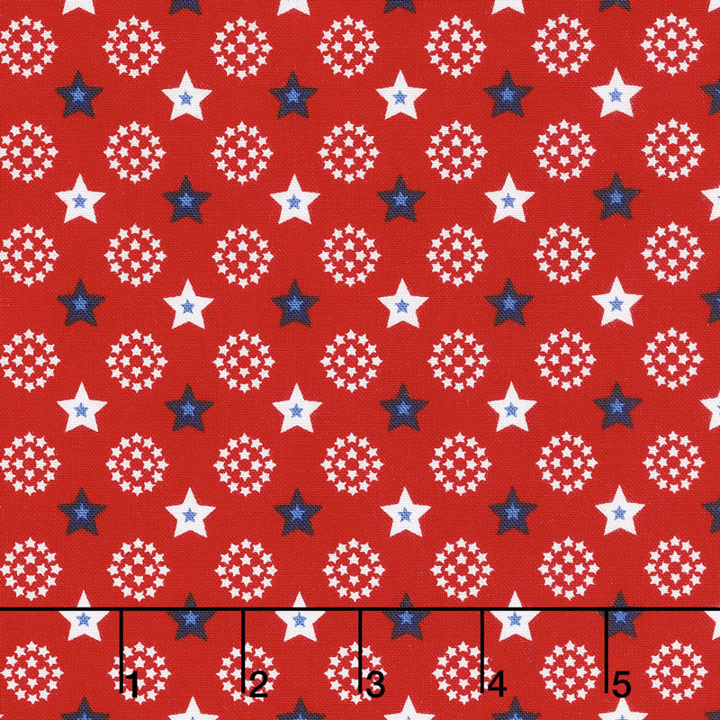 Red, White and Starry Blue - Small Stars Red Yardage