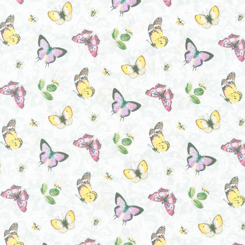 Scented Garden - Tossed Butterflies Pale Gray