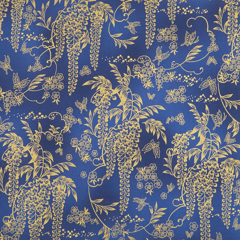 Imperial Collection 15 - Indigo Flowers and Vines Navy Metallic Yardage