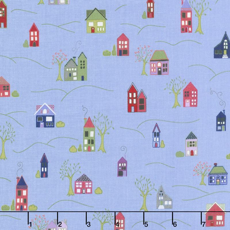 Home Again - Houses Blue Yardage