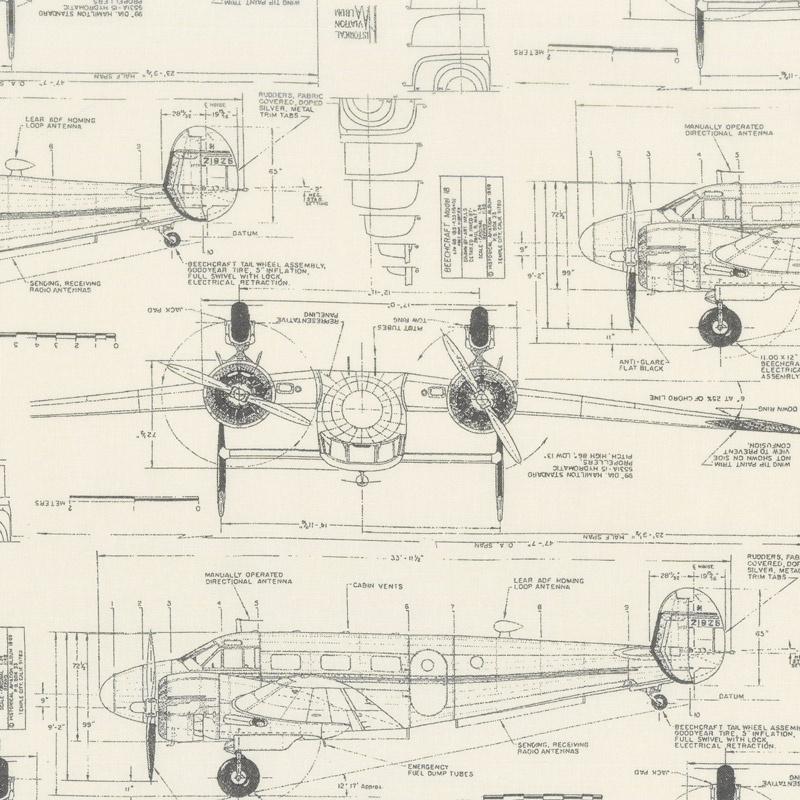 Modern Backgrounds More Paper - Aircraft Eggshell Yardage