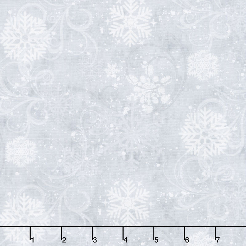Snow Days - Swirling Snowflakes Gray Yardage