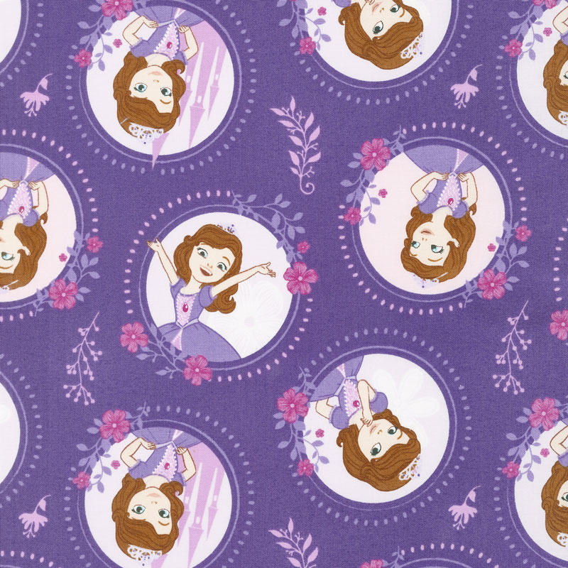 Sofia the First - Floral Frame Grape Yardage - Camelot Design Studio ...