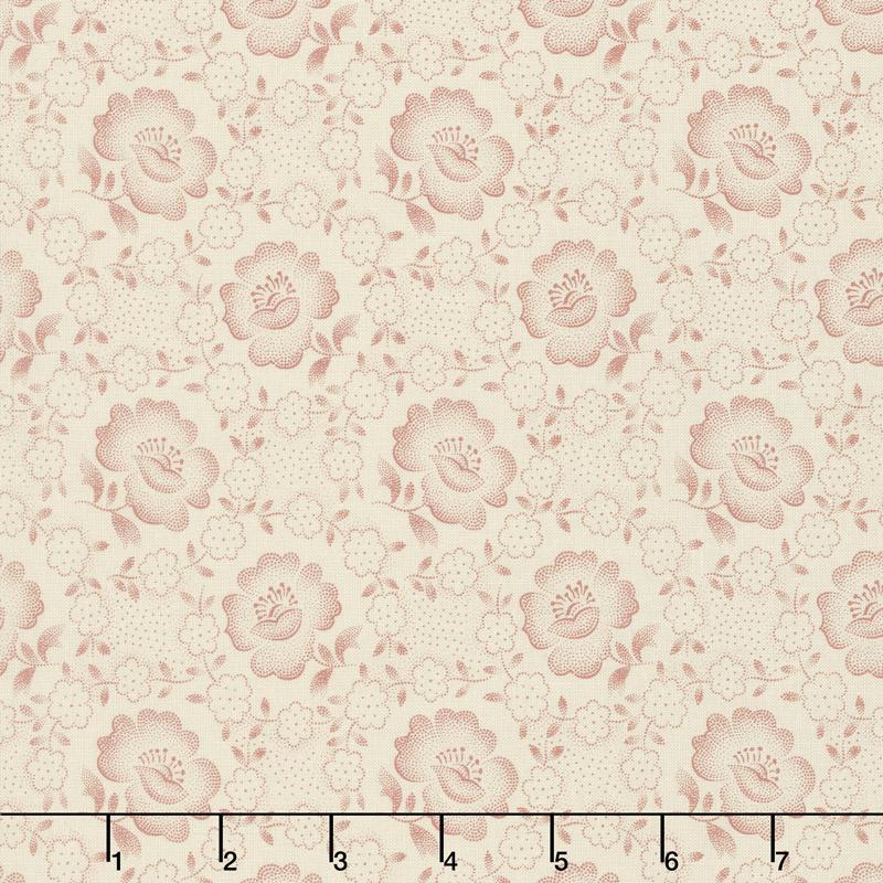 Jo's Shirtings - Floral Glory Parchment Brick Yardage