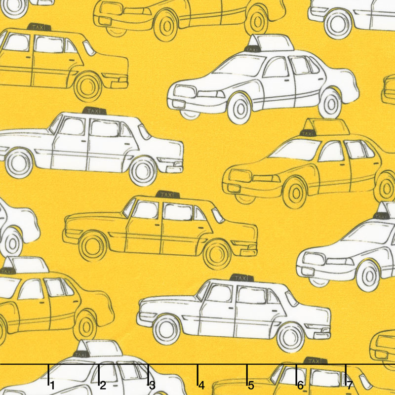 New York, New York - Hey Taxi! Yellow Minky Yardage