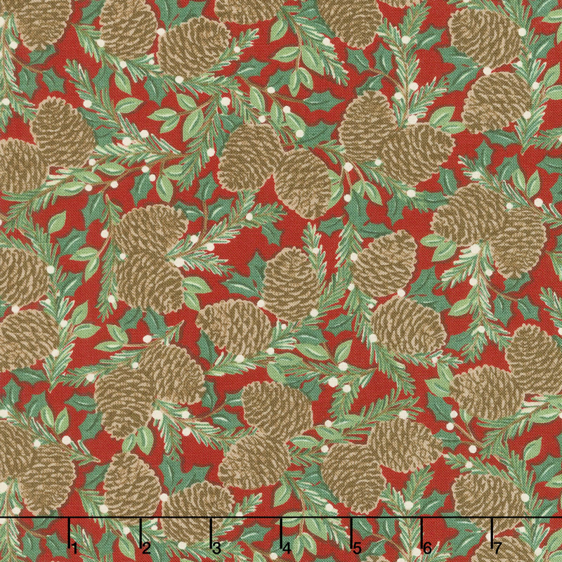 Holiday Lodge - Holiday Greenery Berry Red Yardage