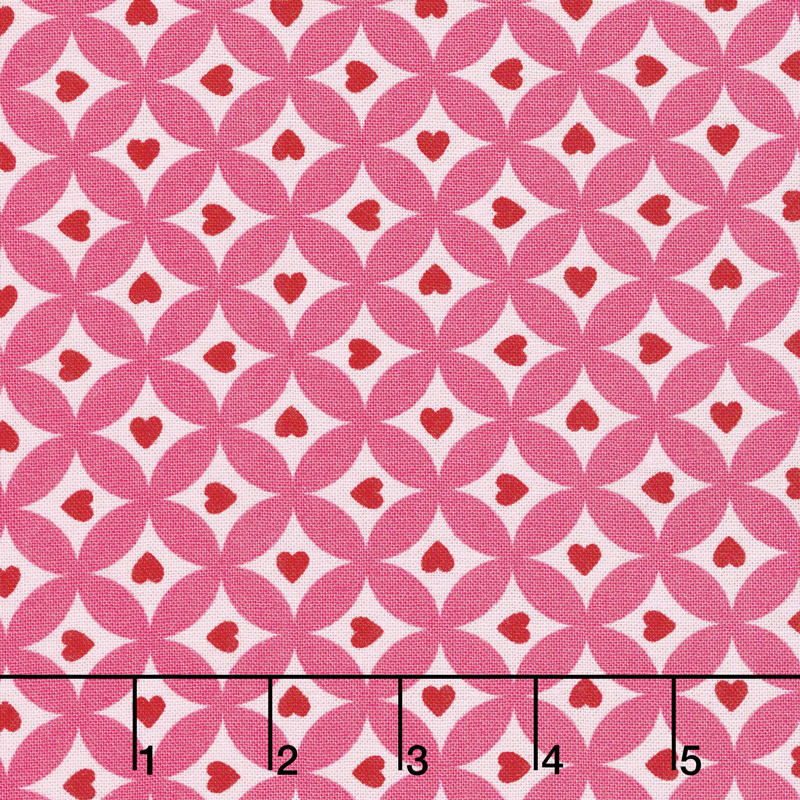 Love Grows - Circles of Love Passion Pink Yardage
